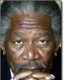 Morgan Freeman - dark skinned man with freckles