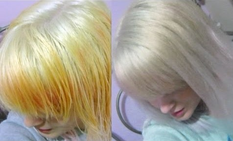 Blonde hair bleached  to white