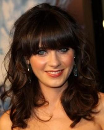 Medium wavy hairstyle with bangs1