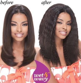 Wet and wavy human hair weave