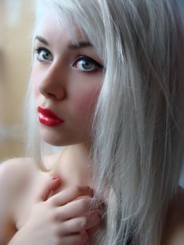 Girl with extended white hair